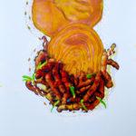 KUNJIT (serie van twee) Gem. techn.l op canvas/karton 50x40cm
