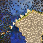 VLIEGEREN Collage, olieverf.op linnen 65x97cm